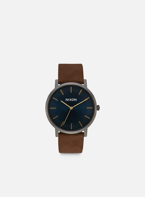 accessori nixon porter leather gunmetal indigo brown