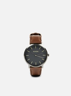 Nixon - Porter Leather, Gunmetal/Slate Blue/Taupe