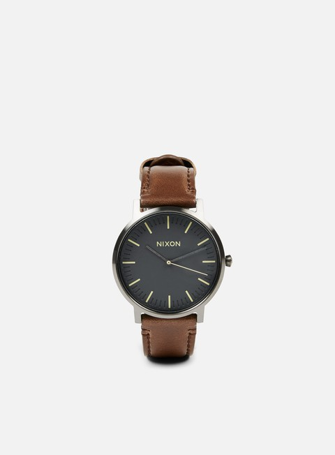 accessori nixon porter leather gunmetal slate blue taupe