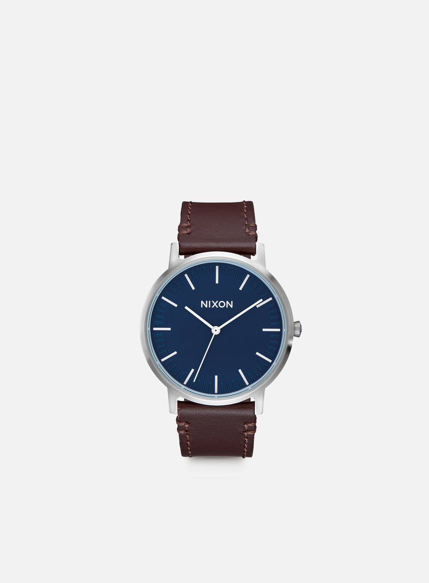 Nixon - Porter Leather, Navy/Brown