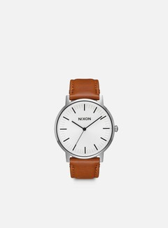 Nixon - Porter Leather, White Sunray/Saddle