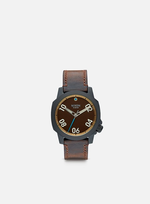accessori nixon ranger 40 leather all black brass brown