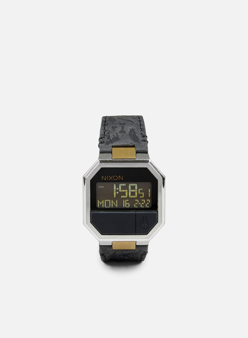 Nixon - Re-Run Leather, Black/Brass