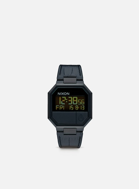 accessori nixon re run leather black croc