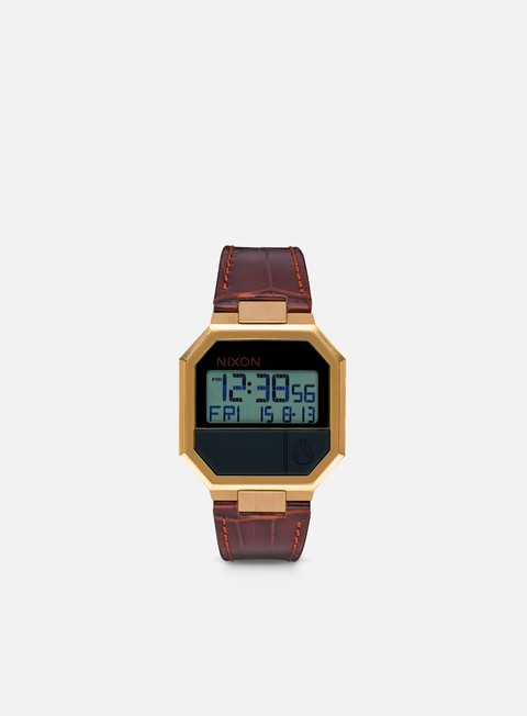 accessori nixon re run leather brown croc