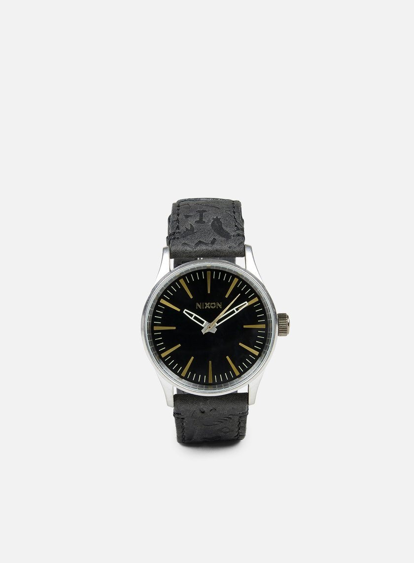 Nixon - Sentry 38 Leather, Black/Brass