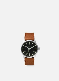 Nixon - Sentry 38 Leather, Black/Saddle