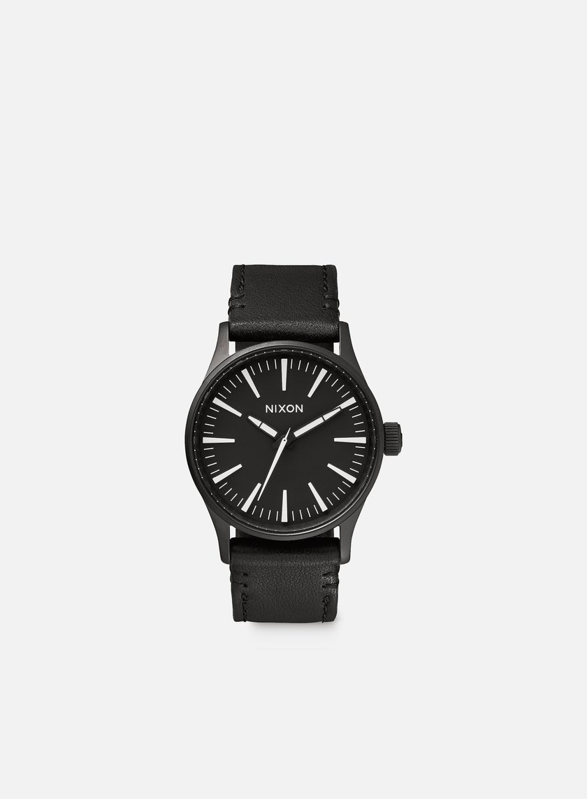 Nixon - Sentry 38 Leather, Black/White