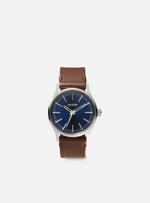 accessori nixon sentry 38 leather blue brown