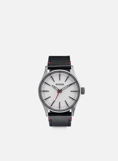 Nixon - Sentry 38 Leather, Gunmetal/White 1