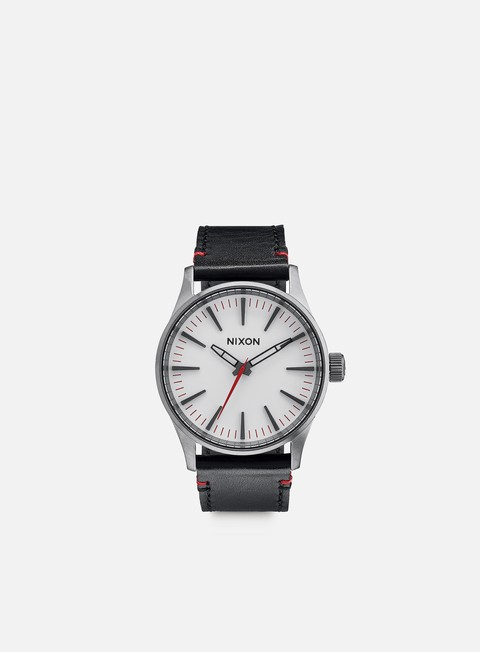 accessori nixon sentry 38 leather gunmetal white