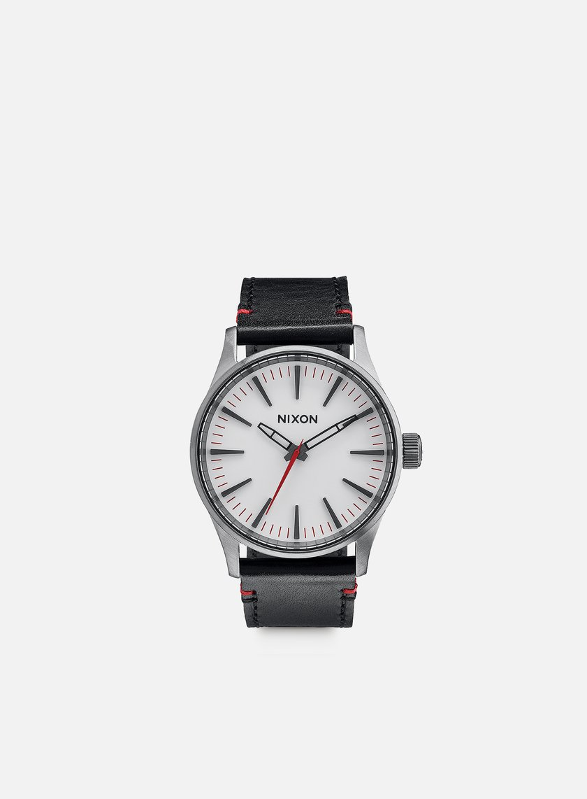 Nixon - Sentry 38 Leather, Gunmetal/White