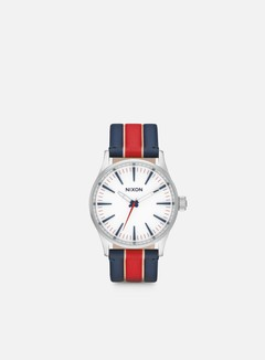 Nixon - Sentry 38 Leather, White/Stripes