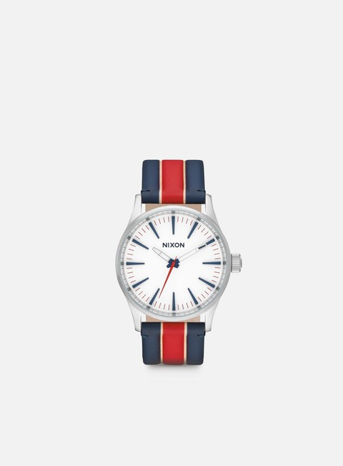 accessori nixon sentry 38 leather white stripes