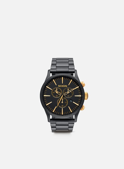 accessori nixon sentry chrono matte black gold