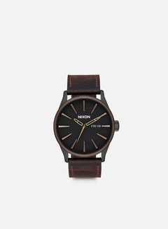 Nixon - Sentry Leather, All Black/Brown/Brass