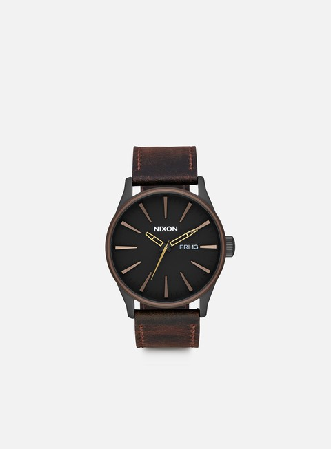 accessori nixon sentry leather all black brown brass