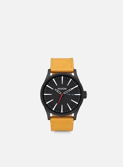 accessori nixon sentry leather all black goldenrod
