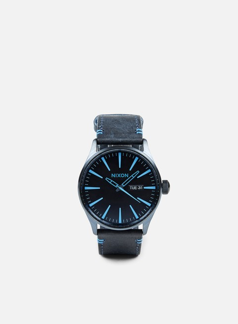 accessori nixon sentry leather all dark blue