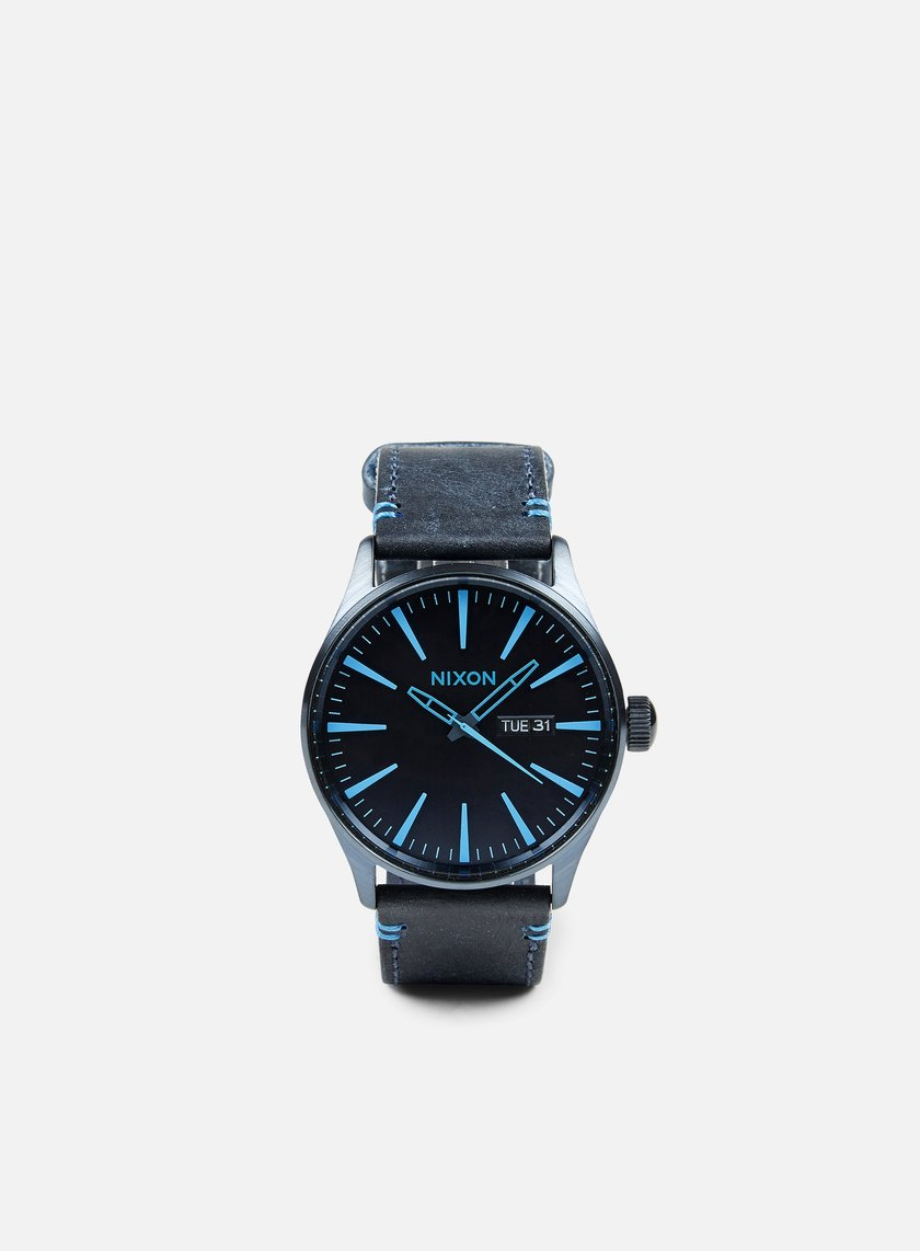 in watches the bluebrown leather blue nixon watch dress brown bliss sentry img