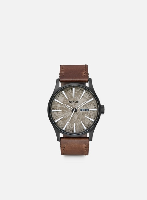 accessori nixon sentry leather black concrete