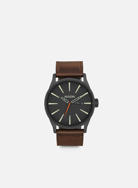 accessori nixon sentry leather black lum taupe
