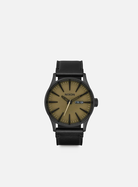 accessori nixon sentry leather black matte sage black