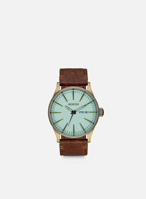 accessori nixon sentry leather brass green crystal brown