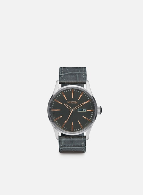 accessori nixon sentry leather gray gator