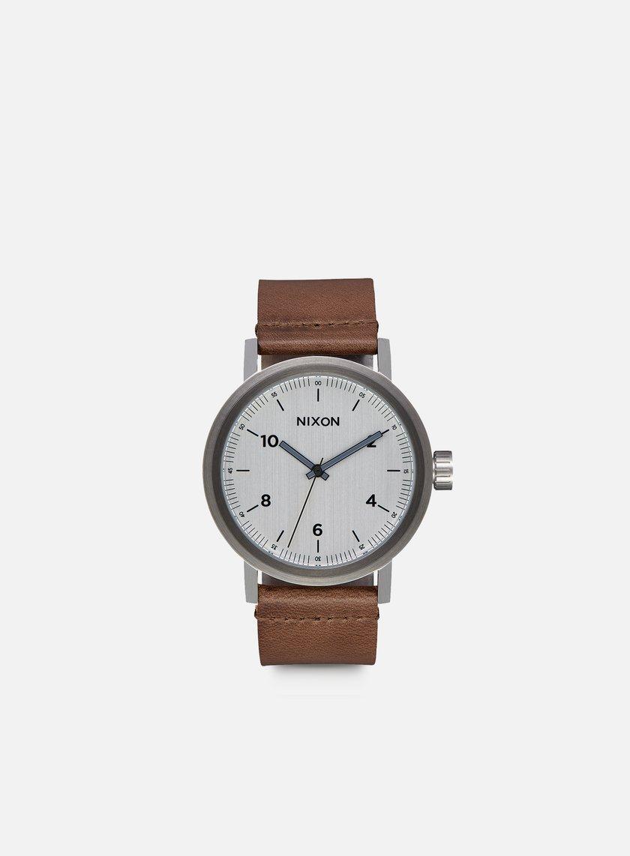 Nixon - Stark Leather, Silver/Saddle