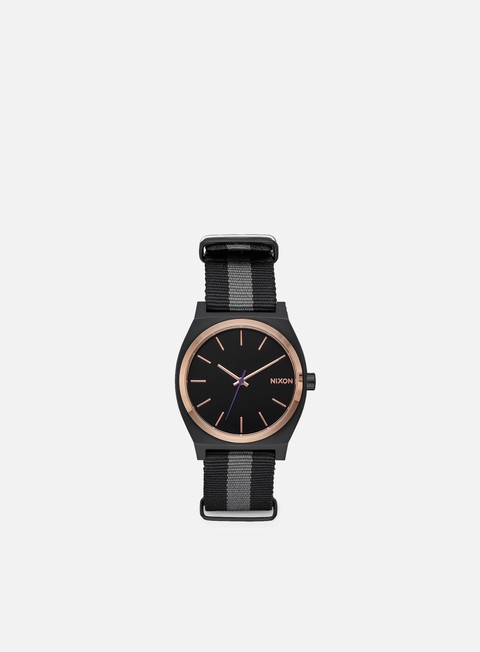 accessori nixon time teller black rose gold charcoal