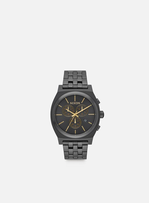 accessori nixon time teller chrono all black gold