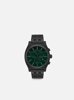Nixon - Time Teller Chrono, All Black/Green Sunray 1