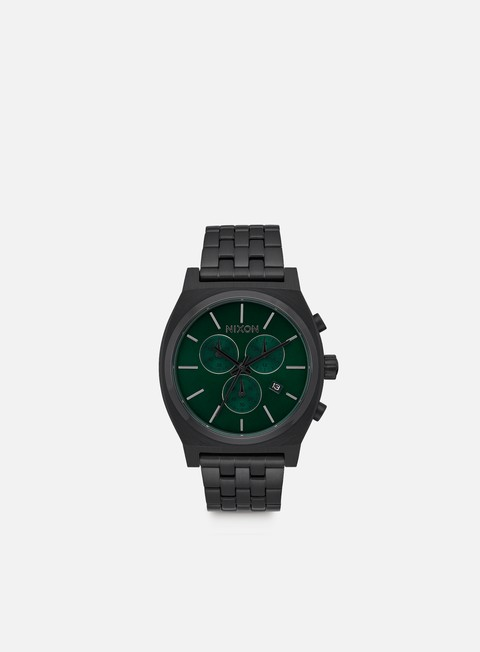 accessori nixon time teller chrono all black green sunray