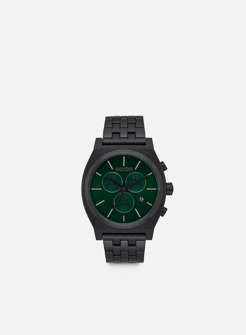 Nixon - Time Teller Chrono, All Black/Green Sunray