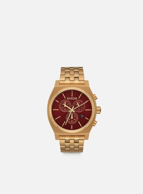 accessori nixon time teller chrono all gold deep burgundy