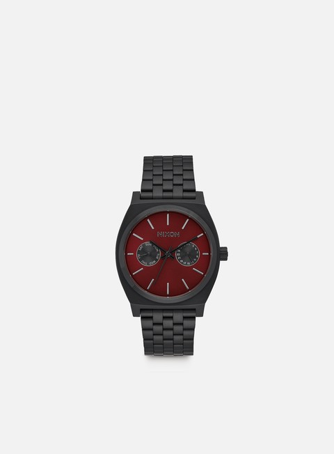accessori nixon time teller deluxe all black deep burgundy