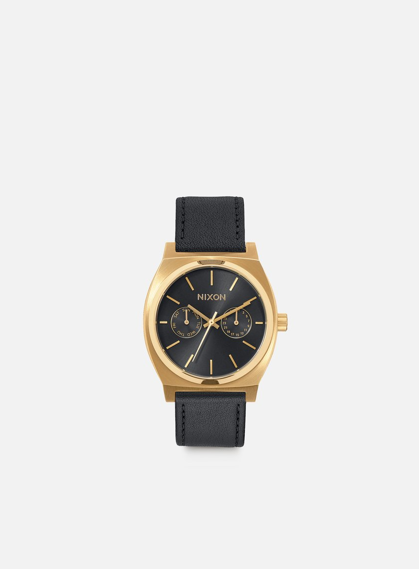 Nixon - Time Teller Deluxe Leather, Gold/Black Sunray