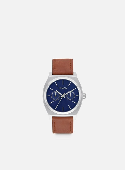 accessori nixon time teller deluxe leather navy sunray brown