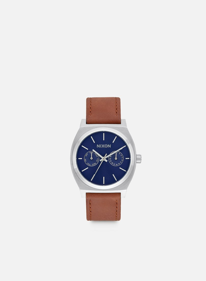 Nixon - Time Teller Deluxe Leather, Navy Sunray/Brown
