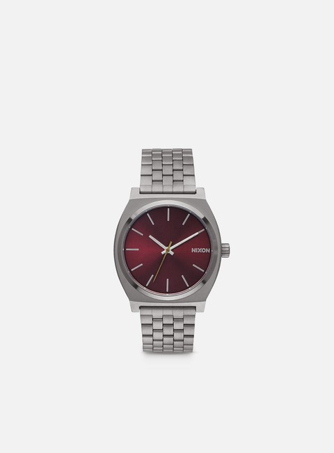 accessori nixon time teller gunmetal deep burgundy