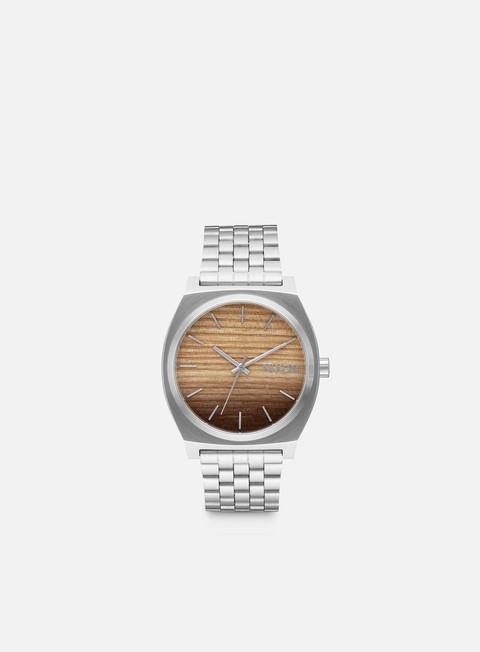 accessori nixon time teller wood silver