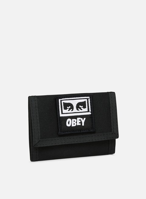 accessori obey drop out tri fold wallet black