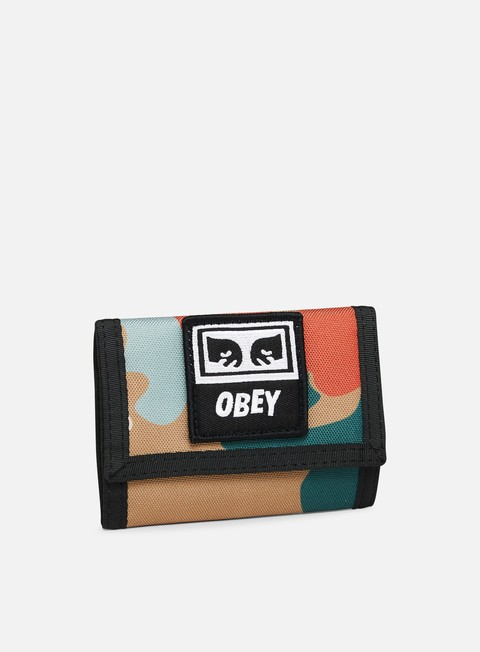accessori obey drop out tri fold wallet drip camo