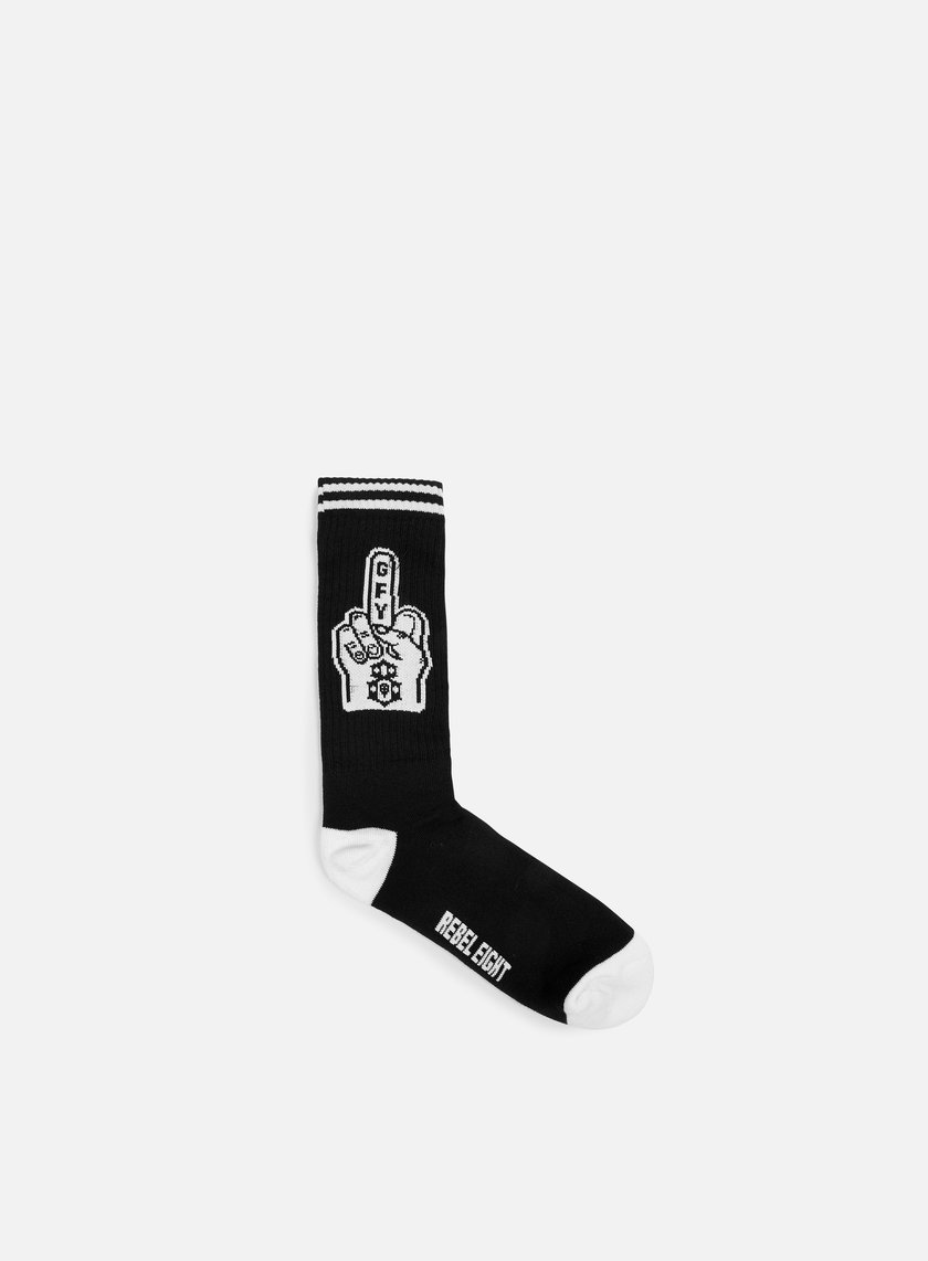 Rebel 8 - Go Fuck Yourself Socks, Black/White