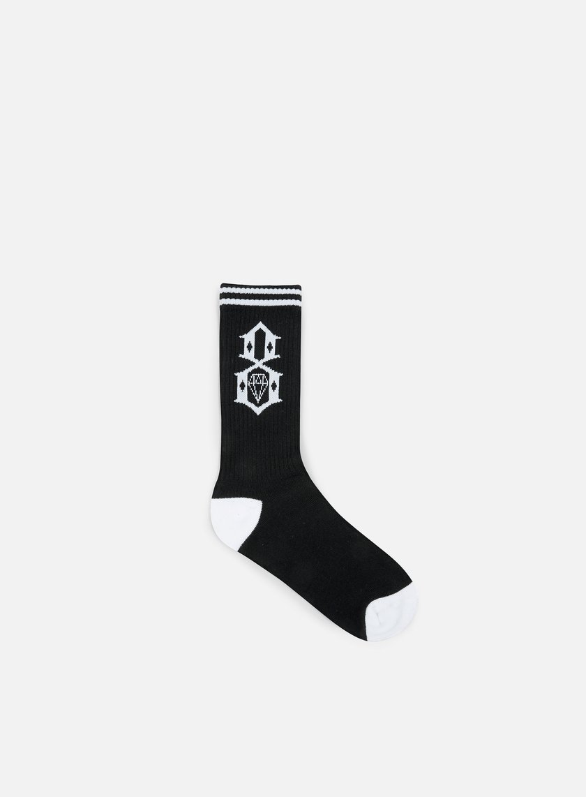 Rebel 8 - Logo Socks, Black/White