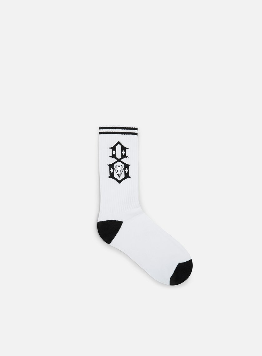 Rebel 8 - Logo Socks, White/Black