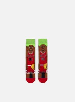 Stance - Rodman NBA Cartoons Crew Socks, Red 1