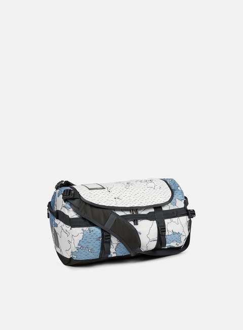 accessori the north face base camp duffel small dusty blue around the world print asphalt grey