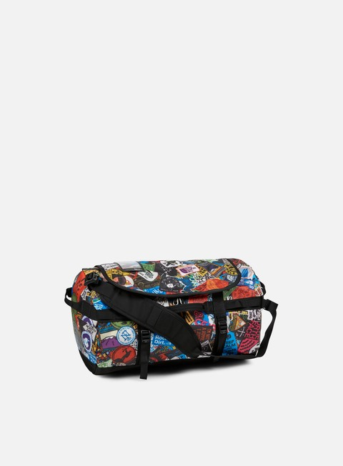 accessori the north face base camp duffel small tnf red sticker bomb print tnf black